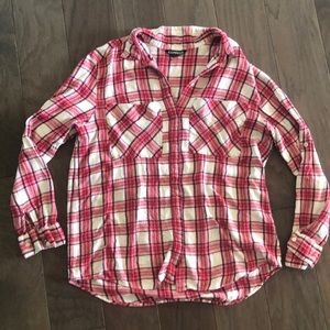 Express red and white flannel shirt size large